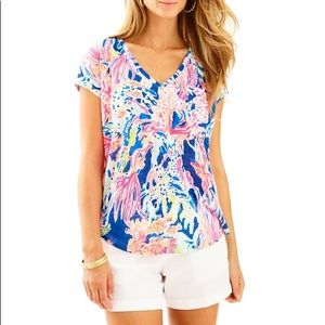 Lilly Pulitzer Rollins Linen Short Sleeve Top M
